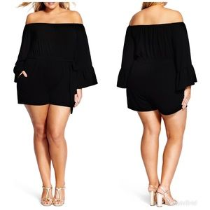 City Chic Bell Sleeve Off The Shoulder Romper
